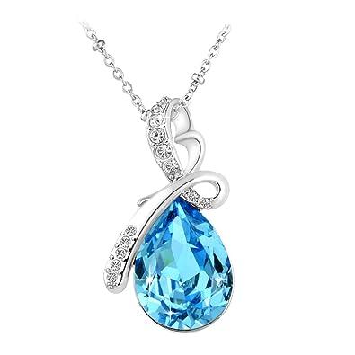 Le Premium collier pendentif en cristal en forme de goutte d eau en fleur  Swarovski 67e1a7966c57