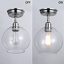 Mars Lighting Industrial Semi Flush Mount Ceiling Light, Edison Vintage Hanging Light, Clear Glass Pendant Shade, Polished Nickel Finish, E26 Base Bulb Included, UL Listed