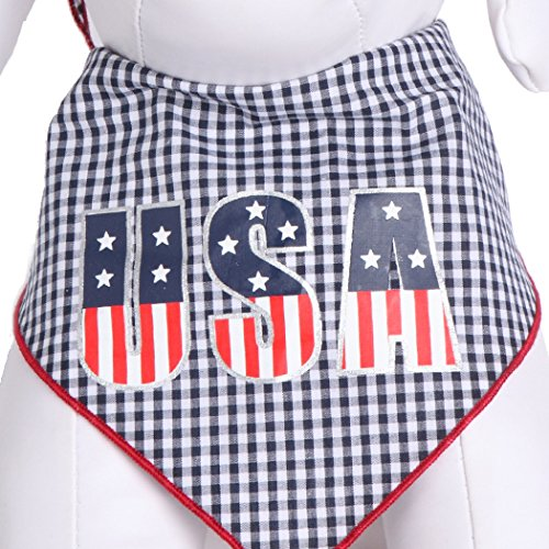 Tail Trends Dog Bandana Patriotic USA Stars Stripes Design fits Most Medium to Large Sized Dogs - 100% Cotton