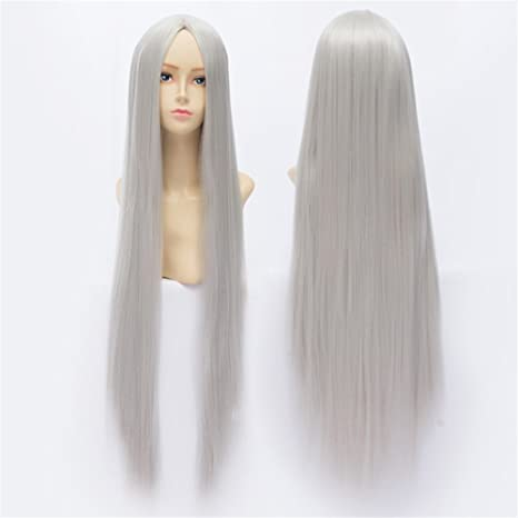 LanTing Cosplay Peluca Cosplay Full Wig Heat Resistant Fiber 100cm Silvery White Cosplay Party Fashion Anime