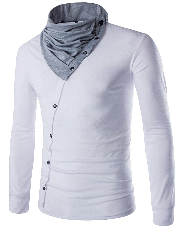 Honey GD Men's Pullover Piles Collar Splicing Fitted Button T-Shirt