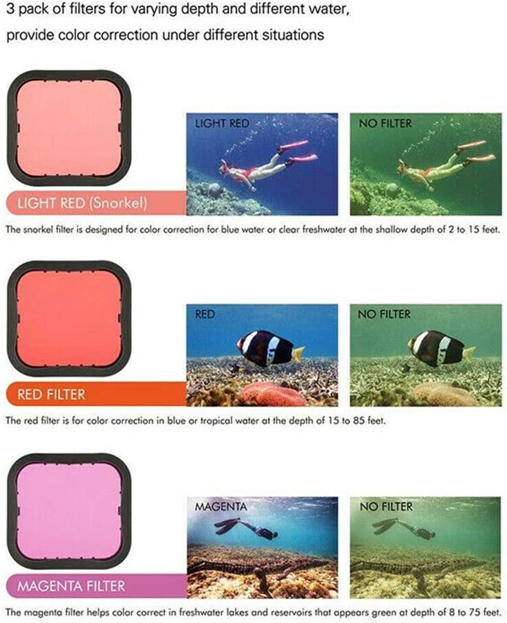 Diving Filter Underwater Red Magenta Snorkel Color Filters Compatible with GoPro Hero 5 6