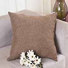 Home Brilliant Spring Decorative Lined Linen Throw Pillow Cover Cushion Case for Floor, 26x26 inches, Brown