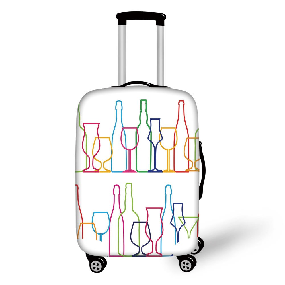 Travel Luggage Cover Suitcase Protector,Wine,Colorful Outline Bottles and Glasses Bar Party Drink Cocktails Modern Fun Collection Decorative,Multicolor,for Travel