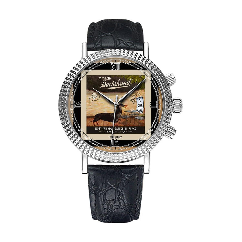アナログクオーツ腕時計 – カレンダー日付シンクラシックカジュアルウォッチブラックレザーバンドLarge Face watches-personalityパターン012。犬アートポスターコーヒーショップキッチン、ダイニングルーム B07DFC62ZK