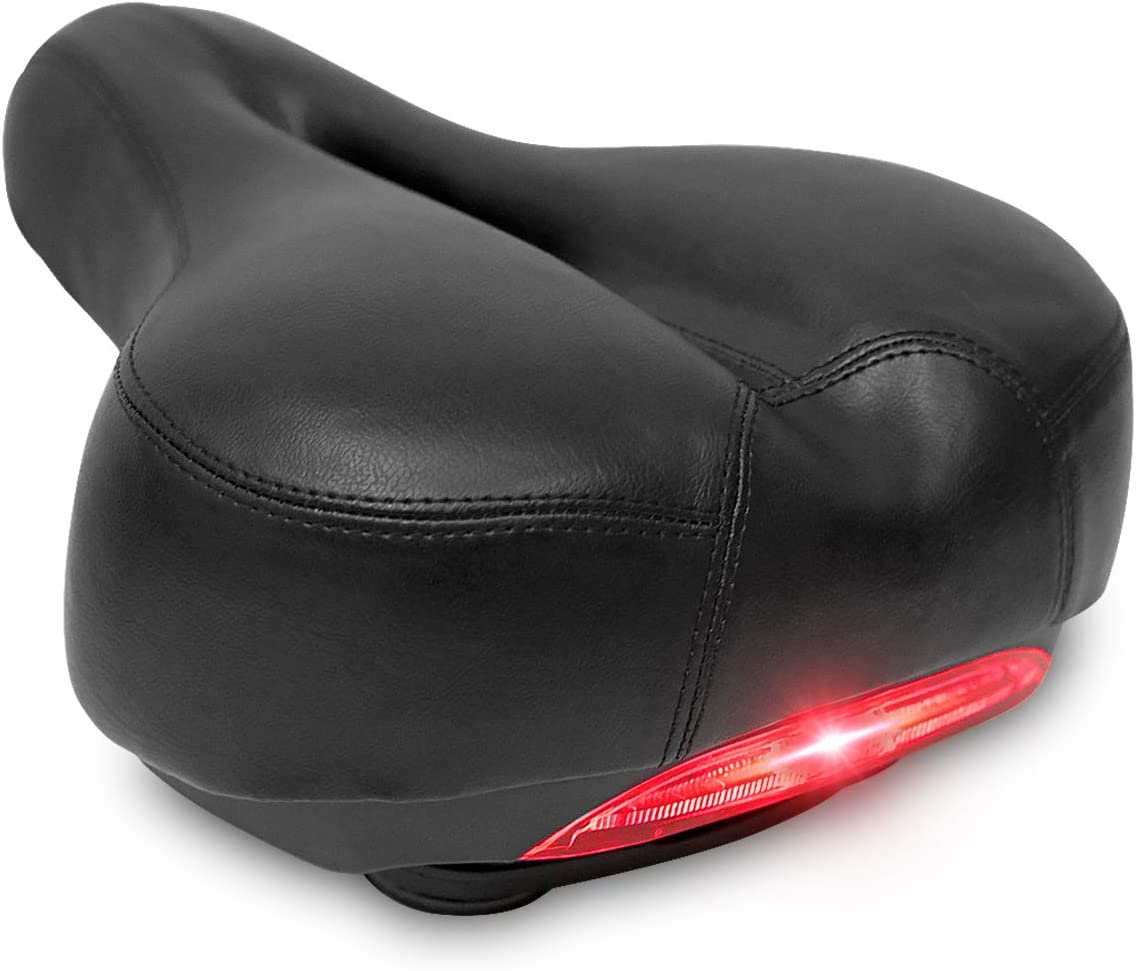 DRBIKE Bike Seat - Padded Bicycle Saddle with Tailight, Soft Cushion & Dual Spring Design, Breathable Bicycle Seat for Men Women Cruiser/Road Bikes/Touring/Mountain Bike