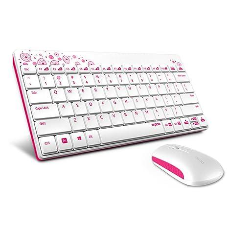 Mini teclado y ratón inalámbrico Gaming ratón teclado Mini teclado receptor para Windows XP, Windows 10, ...