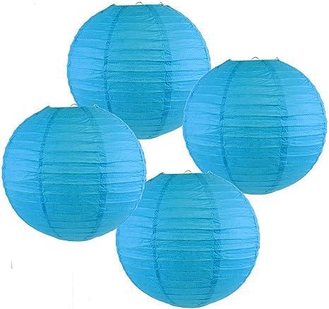 Set of 5, Aquamarine Blue Just Artifacts 8-Inch Aquamarine Blue Chinese Japanese Paper Lanterns