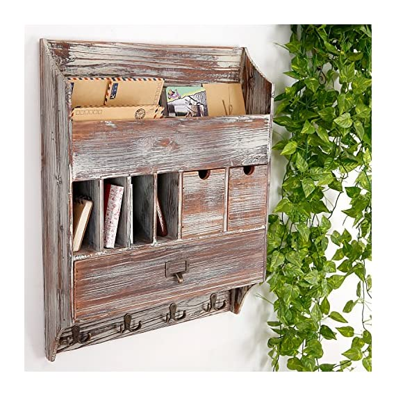 MyGift Country Rustic Wall Mounted Wood Coat Rack, Entryway Organizer w/Mail Slots and 3 Drawers - A versatile wall mounted coat rack and organizer with a stylish rustic finish Features 3 sliding drawers, 4 double sided coat hooks, and several open storage compartments Perfect for holding mail, storing office supplies, hanging key chains, and keeping all sorts of other items neatly organized - wall-shelves, living-room-furniture, living-room - 61NDcOdVQ5L. SS570  -