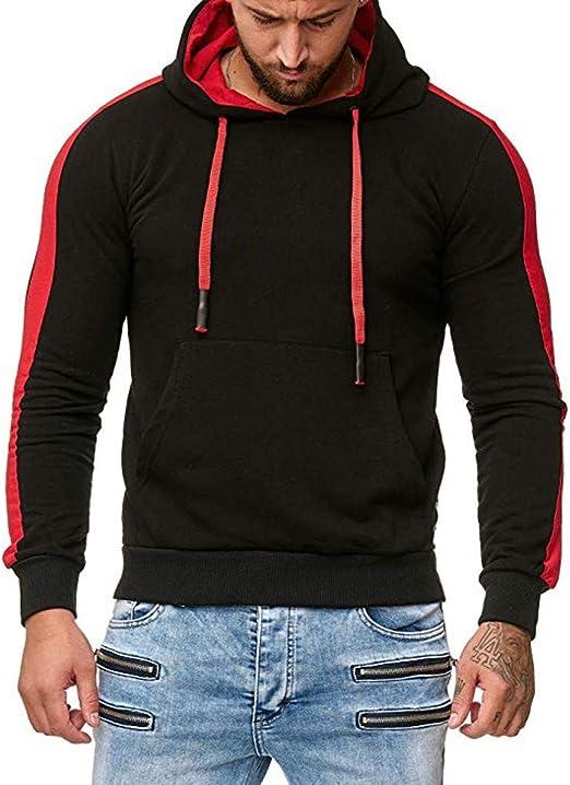 Mens Fleece Hoodies Winter Long Sleeve Lightweight Hooded Sweatshirt Tops Splicing Button Pullover