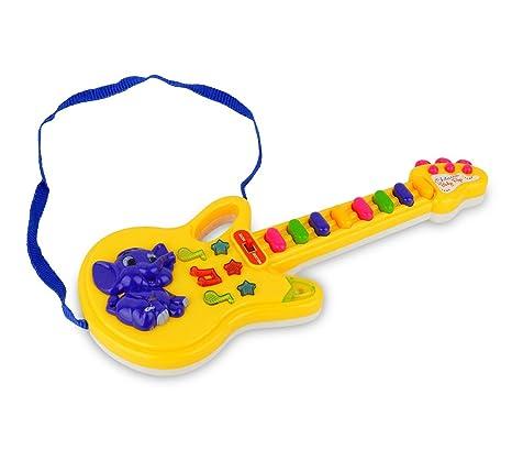 103855 Guitarra de juguete con luces predefinidas melodías y correa para hombro - Amarillo
