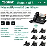 Yealink SIP-T23G, 3 Lines HD Professional VoIP Phone, 3SIP Accts, 3way conf., dual port Gigabit, PoE, BUNDLE of 8