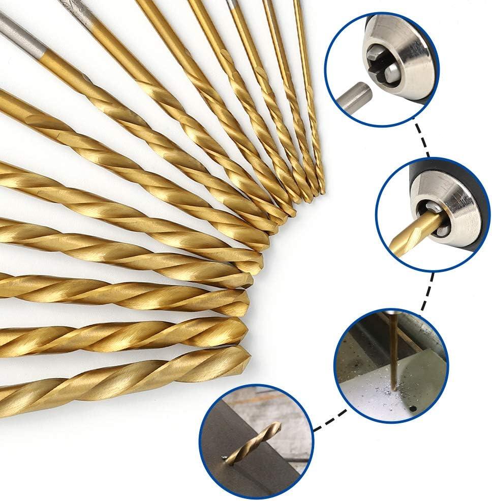 M2 HSS With Titanium Nitride Coating COMOWARE Left Hand Drill Bit Set 13 Piece 1//16-1//4 Left Hand-13PCS SAE