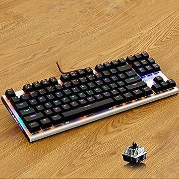 HTACSA 87 Tecla De Teclado Mecánico Mezclada De La Retroiluminación del Teclado,Mecánica De Juego Black para Pc Y Laptop Gamer: Amazon.es: Electrónica