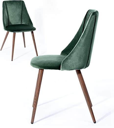 Amazon Com Dining Chairs Kitchen Chairs Home Office Chair Set Of 2 Modern Sturdy Dining Room Chairs With Dark Green Velvet Seat Back Mid Century Living Room Chairs With Metal Legs In