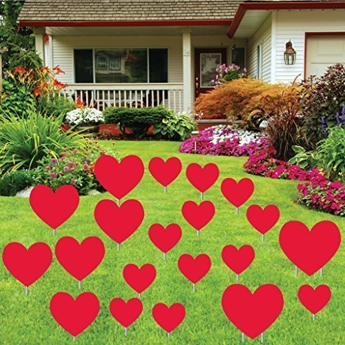 Valentine's Day Red Hearts - Yard Decoration 20 Red Hearts