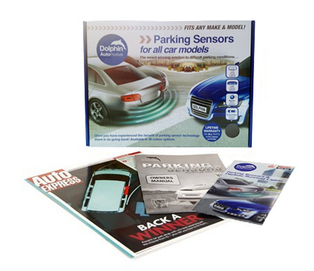 Dolphin Car Van Front Parking Sensors With Longer 6m Leads and Parking Switch in 32 Coloured Options UK White
