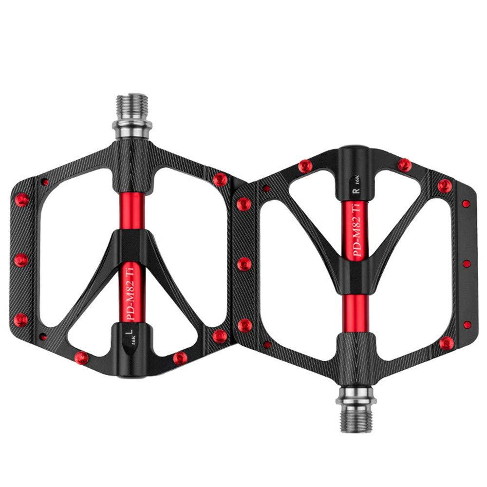 Sunmiao MTB 自転車プラットフォームペダル 幅9/16インチ アルミニウム合金 フラットサイクリングペダル 3シールドベアリングアクスル マウンテンBMXロードバイク用 バイキングアクセサリー 自転車 純金属テクスチャ ブラック sunmiao B07JVS2PZH  ブラック