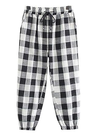 266b9b5f6ebd8f Mallimoda Women's Check Tapered Harem Pants Trousers Black White Plaid XL