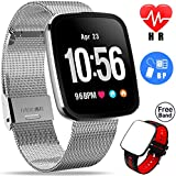Ereon Fitness Tracker Women Sport Smart Watch for Men with Heart Rate Sleep Monitor IP67 Waterproof Pedometer Blood Pressure GPS Activity Tracker Band Bracelet for Swim Run for Android iPhone (silver)