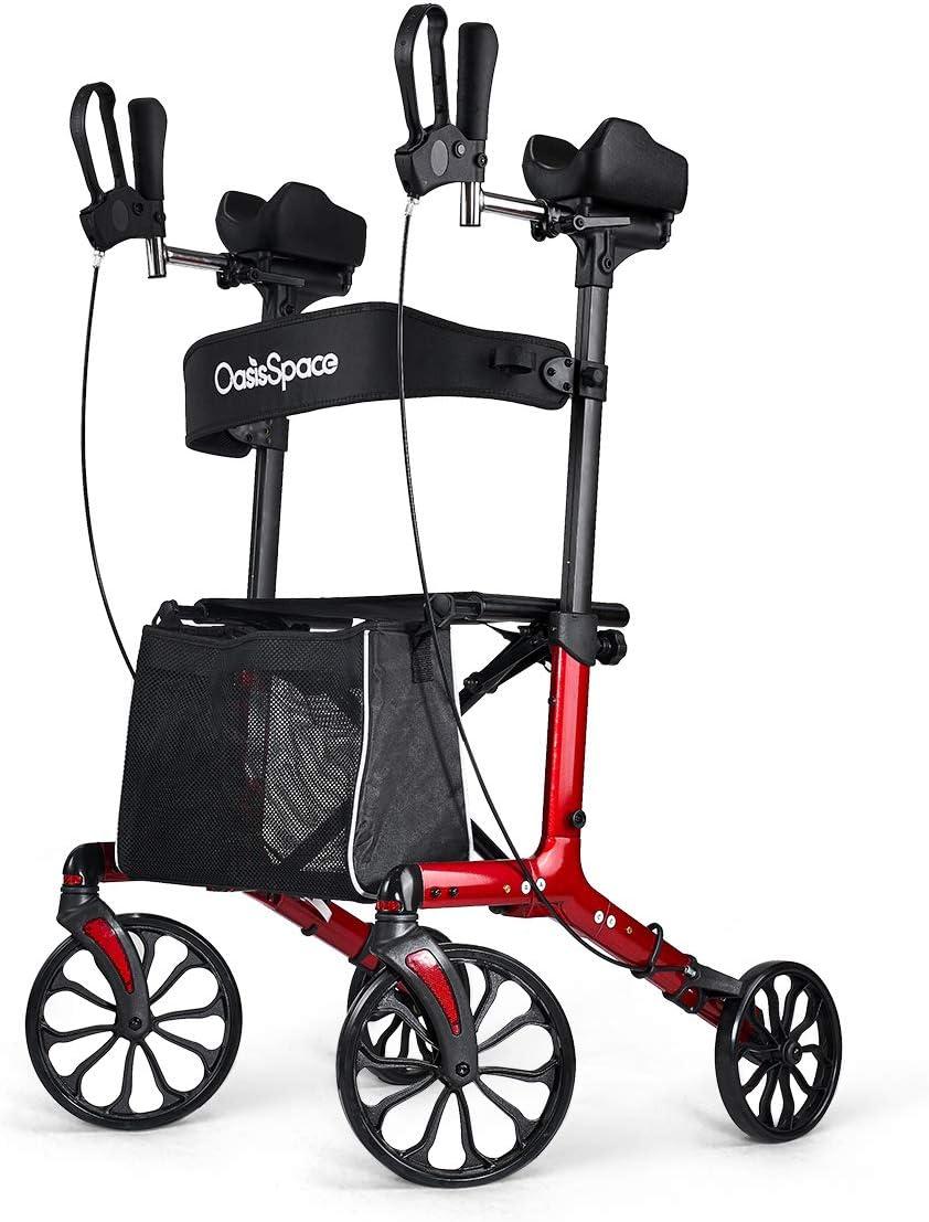 OasisSpace Fashion Stand-up Rollator - Armrest Rollator Walker with Seat, Large Wheel Walker for Senior