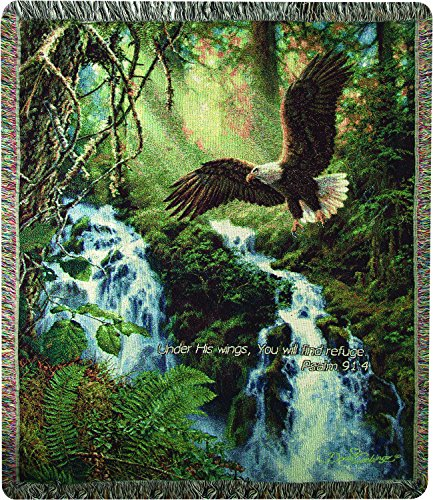 Manual Woodworkers & Weavers Tapestry Throw, Psalm 91:4, 50 x 60