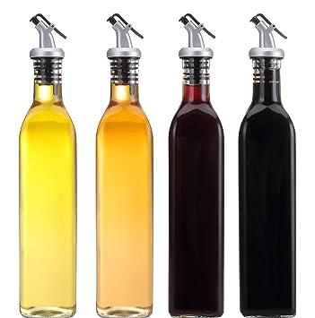 Juego de dispensadores de aceite y vinagre, bote de aceite de cristal de 473 ml