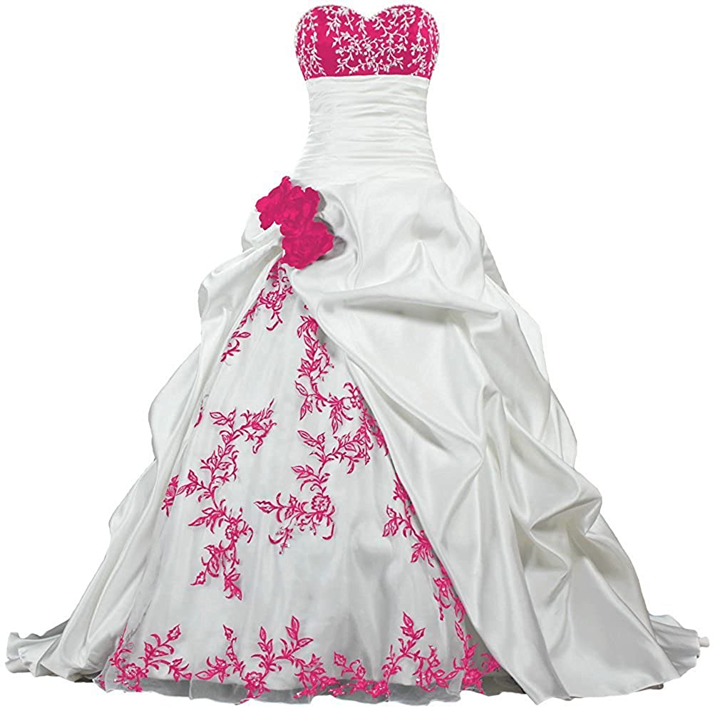 White and pink APXPF Women's Strapless Embroidery Pleat Satin Wedding Dress for Bride