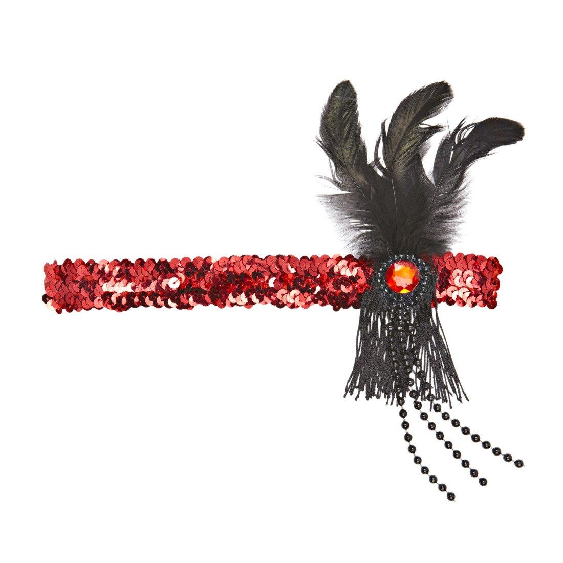 Burlesque Federhut Tänzerin schwarz rot Feder Kopfband 20er Charleston