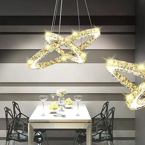 vidaXL Lámpara de Techo Cristal Doble Círculo con LED 23,6 W ...