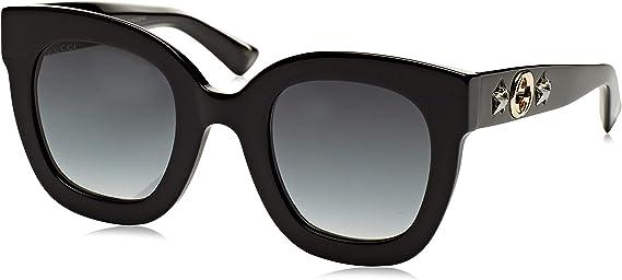 Gucci Sonnenbrille GG0208S-001-49 Gafas de sol, Negro (Schwarz), 49.0 para Mujer