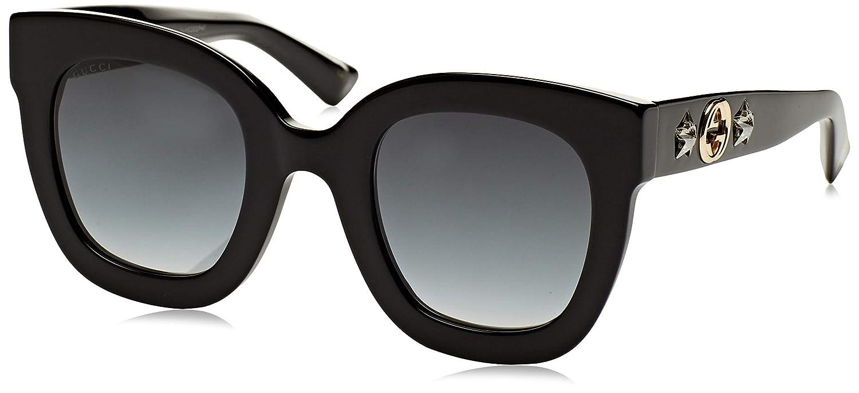 Gucci GG0208S 001 Gafas de sol, Negro (1/Grey), 49 para Mujer