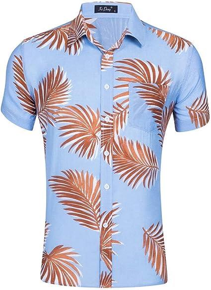 Camisas de los hombres Botón de algodón de manga corta for ...
