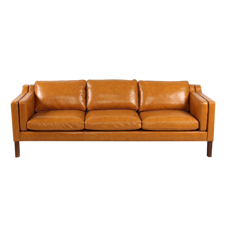 Kardiel Monroe Mid Century Modern Sofa 3 Seat Tan Aniline