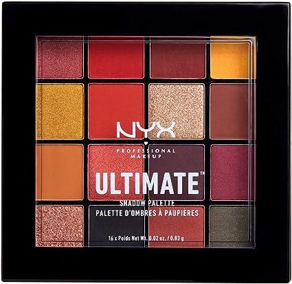 NYX Professional Makeup Paleta de sombra de ojos Ultimate Shadow Palette, Pigmentos compactos, 16 sombras, Acabados mate, satinados y metalizados, Tono: Phoenix: Amazon.es: Belleza