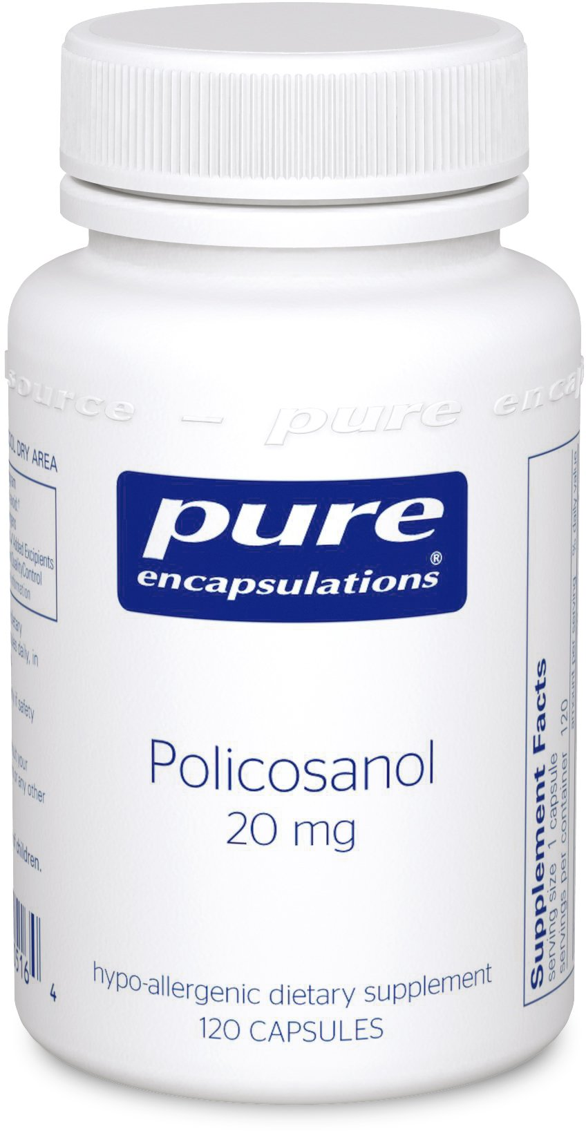 Pure Encapsulations - Policosanol 20 mg - Hypoallergenic Supplement Supports Healthy Lipid Metabolism and Cardiovascular Function* - 120 Capsules