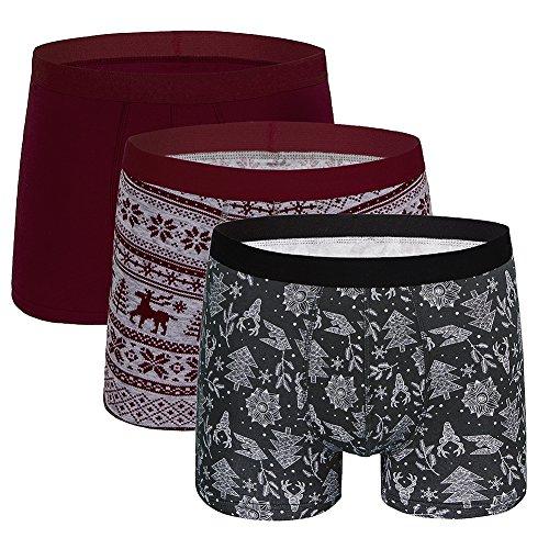 - 5Mayi Men's Underwear Boxer Briefs Christmas Cotton Mens Underwear Men Pack Of 3, Multi, Large/36