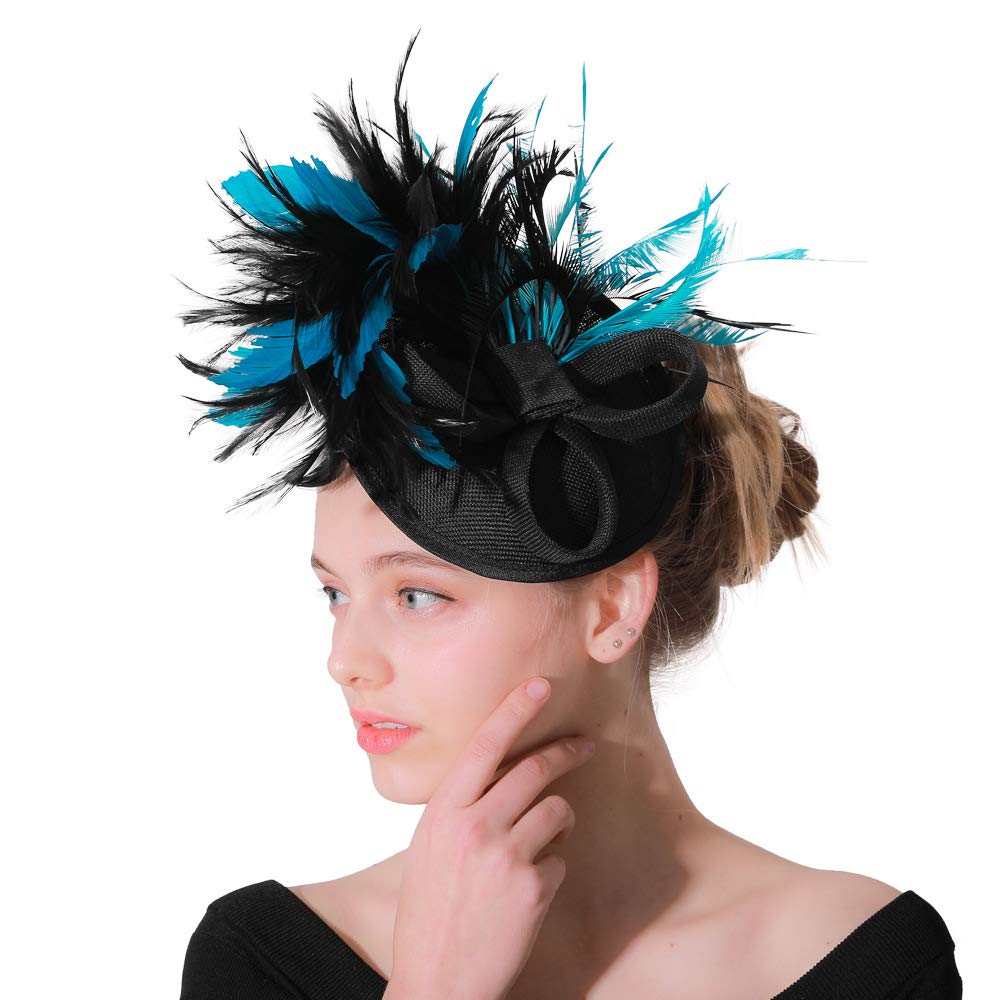 Sinamay Fascinator Pillbox Hat Headband Hair Clip for Cocktail Tea Party Bridal Wedding Hat