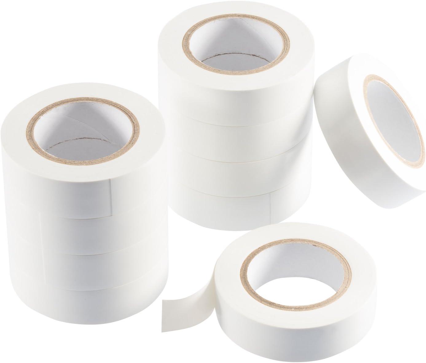 reparaci/ón de conductores el/éctricos cinta de sellado de PVC - cinta adhesiva blanco Poppstar 2x 10m Cinta aislante universal para aislamiento 18mm ancho