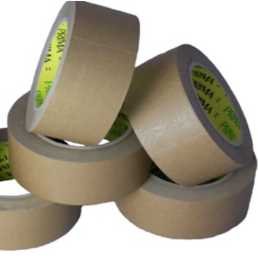 6 LARGE ROLLS OF 50mm KRAFT PAPER TAPE - 2 INCH WIDE x 66 METRES PER ROLL 60gsm WITH RUBBER ADHESIVE - 50mm x 66m - PICTURE FRAMING MOUNTING DIY ART CRAFT PACKING PACKAGING ADHESIVE WAREHOUSE GENERAL TAPES SUPPLIES PRMA KRAFT TAPE