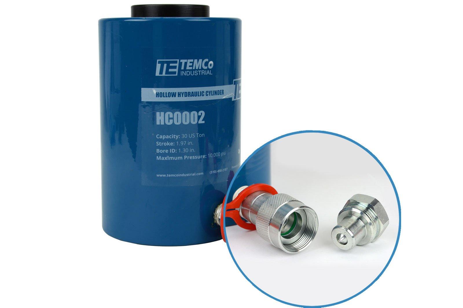 TEMCo HC0002 - Hollow Hydraulic Cylinder Ram 30 TON 2 In Stroke - 5 YEAR Warranty