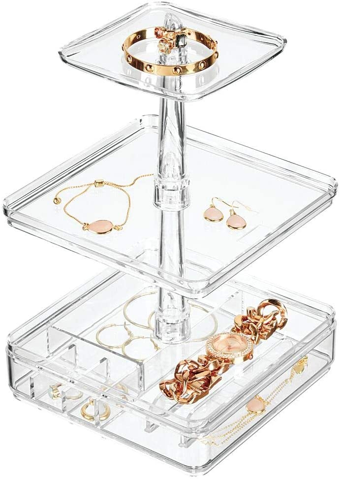 mDesign Plastic Stacking Jewelry Organizer Station, 4 Storage Trays - for Bedroom Dresser, Bathroom Vanity, Countertop, Cabinet, Dressing Table - Holds Bracelets, Watches, Earrings, Necklaces - Clear
