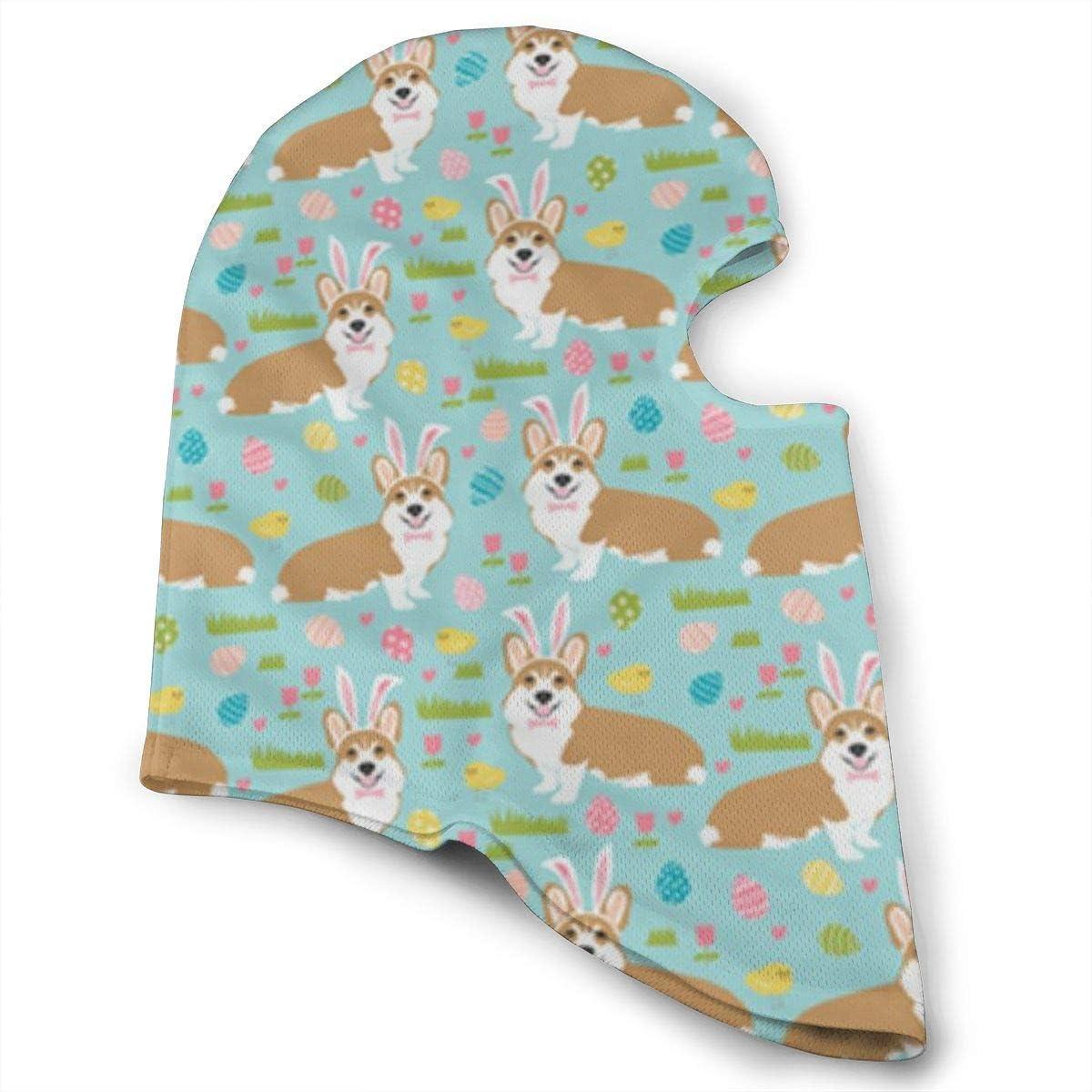 CAClifestyle Corgi Easter Fabric Bunny Egg Unisex Windproof Balaclavas Full Face Mask Hood
