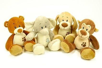 CAPRILO Lote de 4 Peluches Infantiles Decorativos Animales Baby Multicolores. Juguetes Infantiles. Muñecos para