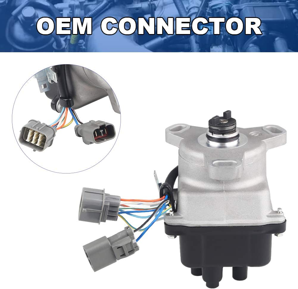 JDMON Ignition Distributor Fit For 1992 1993 1994 1995 Acura Integra 1.8L DOHC Non-VTEC Replace TD55U 30100PR4A12 30100-P75-A02 TD-46U Includes Ignition Module Cap And Rotor