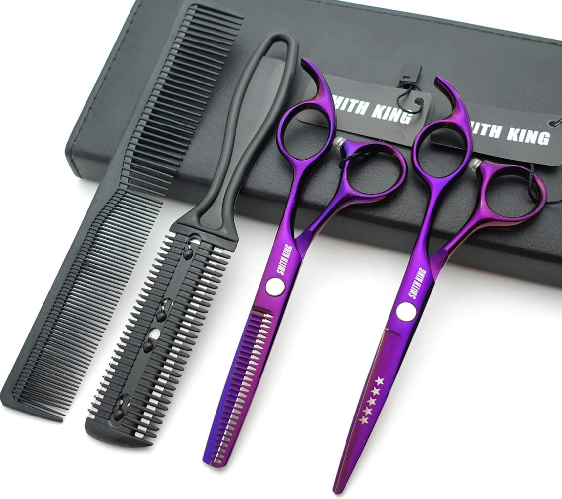 5.5 Inches Hair Scissors with Thinning Comb Hair Cutting Shears Thinning Shears set for Professional and Personal (Violet) by Smithking