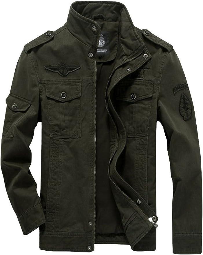 MatchLife Homme Blouson Style Militaire Veste Masculine Manteau d' Automne Hiver Printemps