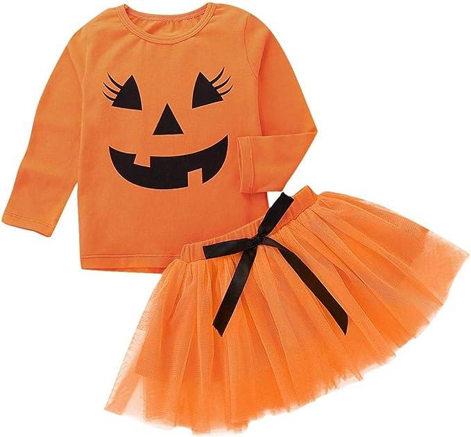 QinMM Camisa Tops + Falda de Halloween para bebé niño, Blusa otoño ...