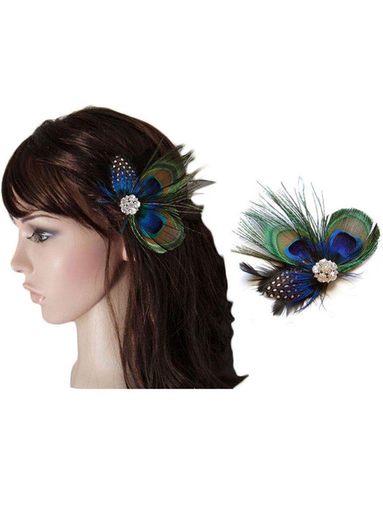 Cute Peacock Feather Bridal Wedding Hair Clip Headpiece Hair Accessory *A