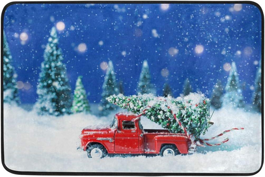 Amazon Com Christmas Bath Mat Christmas Bathroom Rugs Memory Foam Floor Mats Doormats Non Slip Old Red Truck With Christmas Tree Kitchen Dining